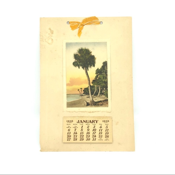 Vintage Other - 1935 Calendar E.G. Barnhill Hand-Colored Beach